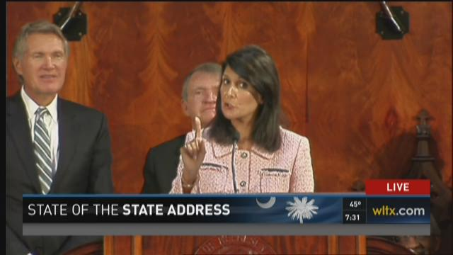 Gov. Nikki Haley delivers her State of the State address on January 20, 2016.
