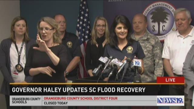 Governor Haley updates SC flood recovery Friday