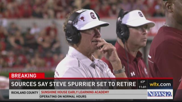 South Carolina Gamecocks head coach Steve Spurrier reacts in the game against the Missouri Tigers during the first half at Faurot Field.